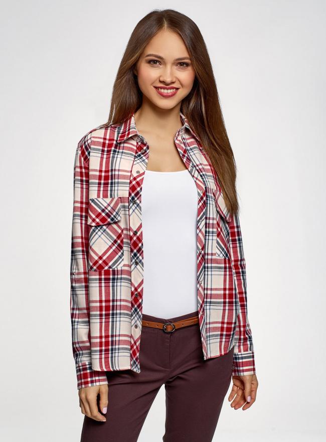 Рубашка в клетку с карманами oodji #SECTION_NAME# (красный), 11411052/42850/4533C