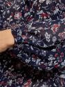 Блузка принтованная с завязками oodji #SECTION_NAME# (синий), 21418013-2/17358/7945F - вид 5