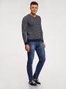 Пуловер прямого силуэта с контрастной отделкой oodji #SECTION_NAME# (синий), 4L212171M/25255N/7910J - вид 6