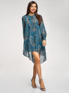 Платье шифоновое с асимметричным низом oodji для женщины (бирюзовый), 11913032/38375/7355E - вид 6