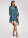 Платье шифоновое с асимметричным низом oodji #SECTION_NAME# (бирюзовый), 11913032/38375/7355E - вид 6