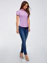 Рубашка хлопковая с коротким рукавом oodji для женщины (фиолетовый), 13K01004-1B/14885/8001N