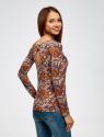 Футболка с длинным рукавом и вырезом-капелькой на спине oodji для женщины (коричневый), 14201034/46147/3770E