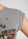 Футболка с принтом и отворотами на рукавах oodji для женщины (серый), 14701034/45811/23A0P