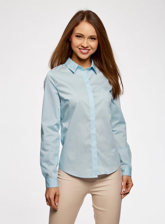 Рубашка базовая приталенного силуэта oodji #SECTION_NAME# (синий), 13K03003B/42083/7000N