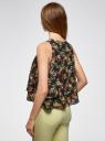 Топ двуслойный из струящейся ткани oodji для женщины (черный), 11411162/46796/2919F