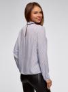 Блузка с декоративными завязками и оборками на воротнике oodji #SECTION_NAME# (синий), 11411091-3/48458/7079D - вид 3