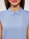 Топ базовый из струящейся ткани oodji для женщины (синий), 14911006-2B/43414/7500N - вид 4