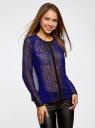 Блузка из струящейся ткани с контрастной отделкой oodji #SECTION_NAME# (синий), 11411059-2/38375/7829A - вид 2