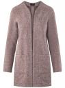 Кардиган из фактурной ткани с накладными карманами oodji #SECTION_NAME# (розовый), 19201003/47208/4B12N