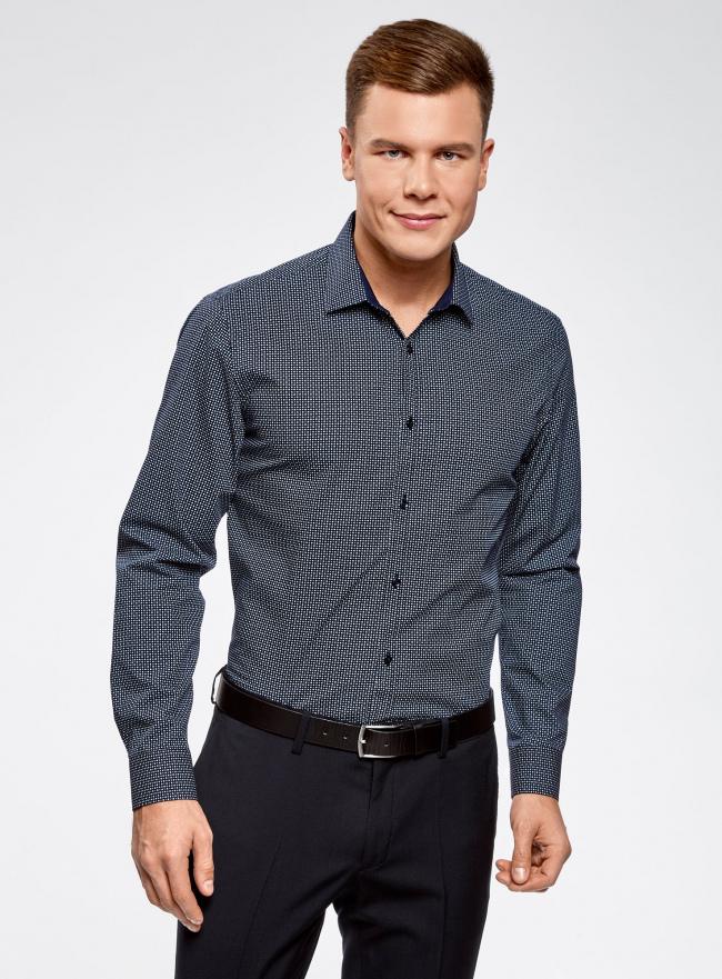 Рубашка принтованная приталенного силуэта oodji #SECTION_NAME# (синий), 3L110210M/19370N/7975G