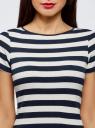 Платье A-образного силуэта с круглым вырезом oodji #SECTION_NAME# (синий), 14001201/48002/7912S - вид 4