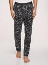 Брюки пижамные принтованные oodji для мужчины (черный), 7L400101I-1/47885N/2910G - вид 2