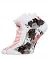 Комплект из трех пар хлопковых носков oodji для женщины (разноцветный), 57102418-5T3/48418/14 - вид 2