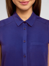 Топ вискозный с нагрудным карманом oodji для женщины (синий), 11411108B/26346/7500N - вид 4