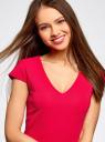 Платье с V-образным вырезом и асимметричным низом oodji #SECTION_NAME# (розовый), 14001208/22132/4700N - вид 4
