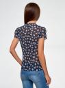 Блузка из принтованного шифона с завязками oodji для женщины (синий), 21406022-3M/10466/7941F