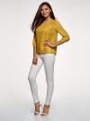Блузка прямого силуэта с вышивкой oodji #SECTION_NAME# (желтый), 11411094/45403/5700N - вид 6