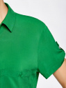 Блузка из вискозы с нагрудными карманами oodji #SECTION_NAME# (зеленый), 11400391-3B/24681/6B00N - вид 5