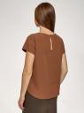 Блузка прямого силуэта с коротким рукавом oodji для женщины (коричневый), 11411138-3B/48728/3700N
