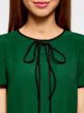 Блузка с коротким рукавом и контрастной отделкой oodji для женщины (зеленый), 11401254/42405/6E29B