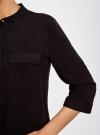 Блузка вискозная с регулировкой длины рукава oodji #SECTION_NAME# (черный), 11403225-2B/26346/2900N - вид 5