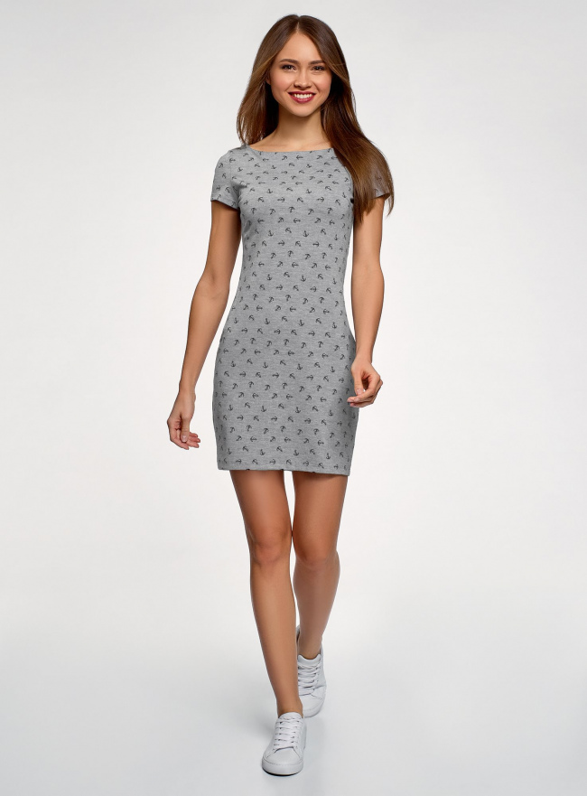 Платье трикотажное базовое oodji #SECTION_NAME# (серый), 14001117-6B/16564/2379O
