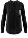 Блузка прямая с карманом из искусственной кожи oodji для женщины (черный), 11400413/42124/2900N