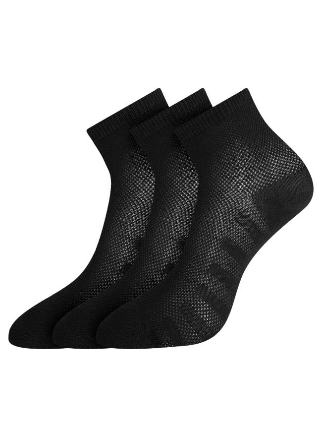Комплект из трех пар хлопковых носков oodji для женщины (черный), 57102711T3/48022/19
