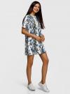 Платье из фактурной ткани прямого силуэта oodji #SECTION_NAME# (белый), 24001110-3/42316/3070F - вид 6