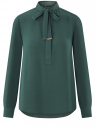Блузка свободного силуэта с завязками oodji #SECTION_NAME# (зеленый), 21411094B/48854/6E00N