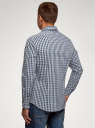 Рубашка в клетку с длинным рукавом oodji #SECTION_NAME# (синий), 3B110028M/39767N/7910C - вид 3