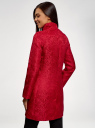 Пальто прямого силуэта из фактурной ткани oodji #SECTION_NAME# (красный), 10104043/43312/4500N - вид 3