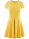 Платье трикотажное комбинированное oodji для женщины (желтый), 14001159/42575/5200N