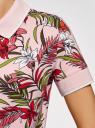 Поло на молнии с принтом oodji для женщины (розовый), 19301012-1/46149/4019F