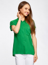 Блузка из вискозы с нагрудными карманами oodji #SECTION_NAME# (зеленый), 11400391-3B/24681/6B00N - вид 2