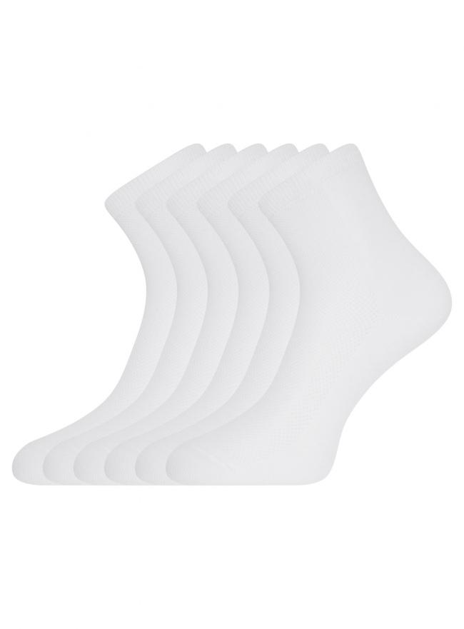 Комплект из шести пар хлопковых носков oodji для женщины (белый), 57102809T6/48022/1