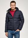 Куртка стеганая с капюшоном oodji #SECTION_NAME# (синий), 1B112027M/33743/7900N - вид 2