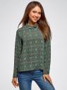 Блузка прямого силуэта с отложным воротником oodji #SECTION_NAME# (зеленый), 11411181/43414/694AE - вид 2