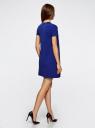 Платье А-образного силуэта в рубчик oodji #SECTION_NAME# (синий), 14000157/45997/7500N - вид 3