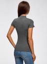 Водолазка хлопковая с коротким рукавом oodji для женщины (серый), 15E11011/48037/2500M