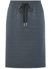 Юбка прямая на завязках oodji для женщины (синий), 11600450/49376/7923C