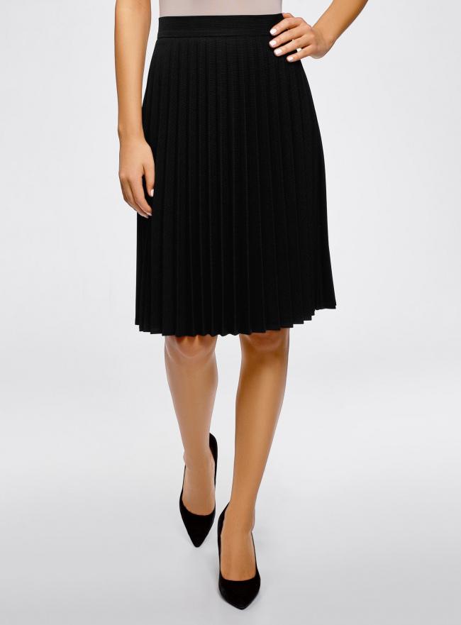 Юбка плиссе удлиненная oodji для женщины (черный), 21606020-9B/31270/2910S