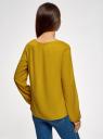 Блузка вискозная с вырезом-капелькой на груди oodji для женщины (желтый), 21400321-4/35610/5700N