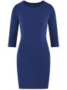 Платье трикотажное с рукавом 3/4 oodji #SECTION_NAME# (синий), 24001100-2/42408/7500N