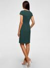 Платье-футляр из плотной ткани с квадратным вырезом oodji #SECTION_NAME# (зеленый), 21902065/31291/6900N - вид 3