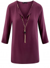 Блузка прямого силуэта с украшением oodji #SECTION_NAME# (фиолетовый), 21404021/43281/8800N