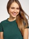 Платье А-образного силуэта в рубчик oodji для женщины (зеленый), 14000157/45997/6900N