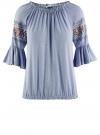 Блузка трикотажная с вышивкой на рукавах oodji #SECTION_NAME# (синий), 14207003/45201/7001N