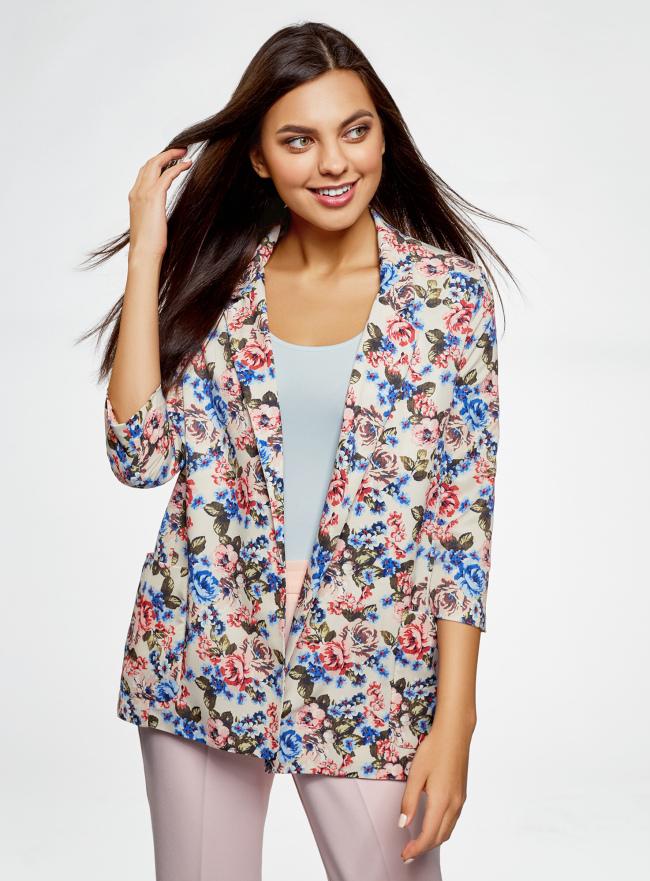 Жакет без застежки с накладными карманами oodji для женщины (разноцветный), 21204047/42526/1270F